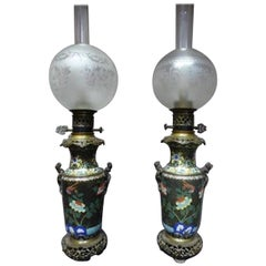 19th century Gilted Bronze and Enamel Cloisonné Pair of Table lamp