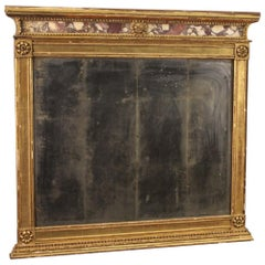 19th Century Giltwood and Marble Italian Antique Mirror, 1830