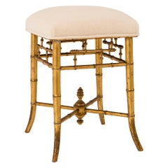 19th Century Giltwood Carved Bamboo Stool