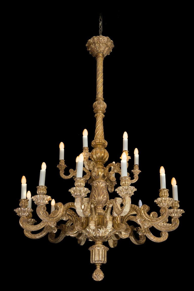 19th Century Giltwood Chandelier In Good Condition For Sale In Peterborough, Northamptonshire