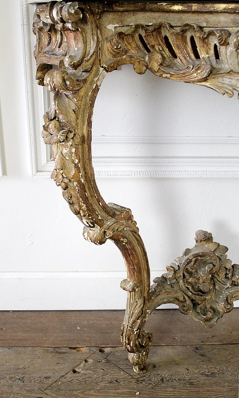 19th Century Giltwood Louis XV Style Console with Marble Top For Sale 5