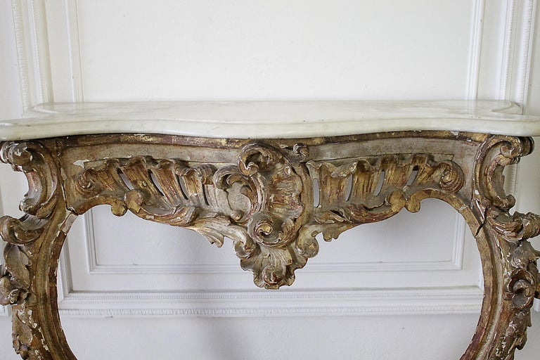19th Century Giltwood Louis XV Style Console with Marble Top For Sale 6