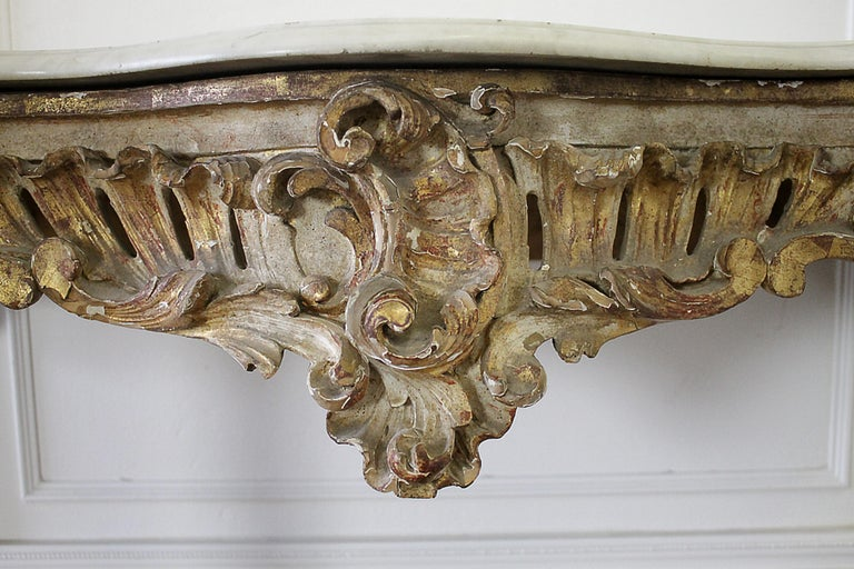 19th Century Giltwood Louis XV Style Console with Marble Top For Sale 7
