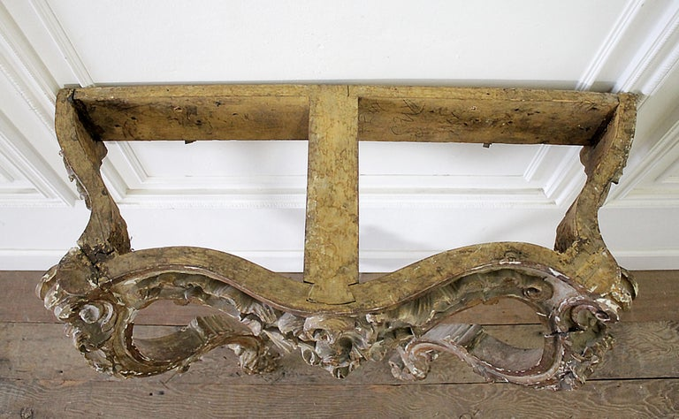 19th Century Giltwood Louis XV Style Console with Marble Top For Sale 12