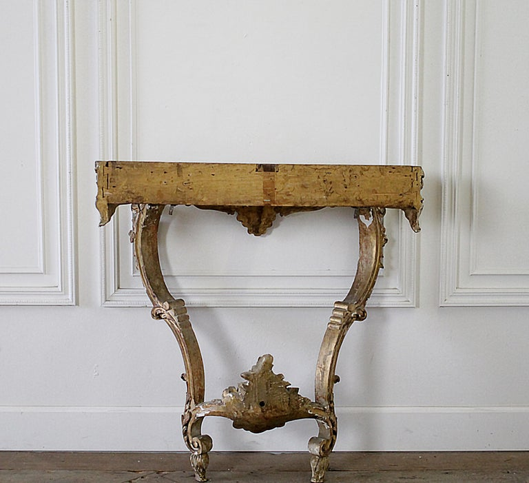 19th Century Giltwood Louis XV Style Console with Marble Top For Sale 14