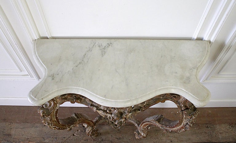 Carrara Marble 19th Century Giltwood Louis XV Style Console with Marble Top For Sale