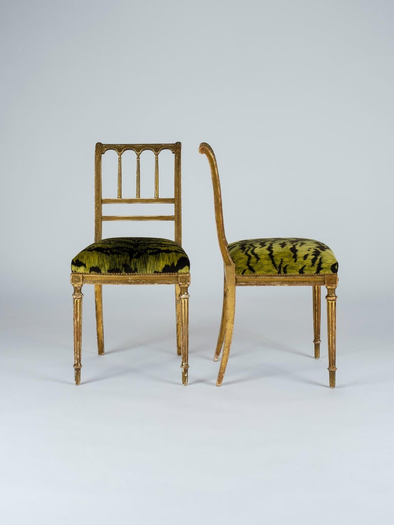 19th Century Giltwood Louis XVI Style Green Tigre Velvet Music Chairs For Sale 5