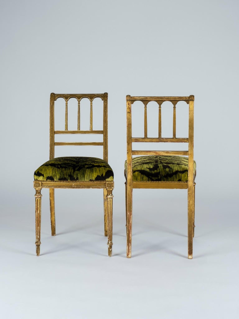 19th Century Giltwood Louis XVI Style Green Tigre Velvet Music Chairs For Sale 6