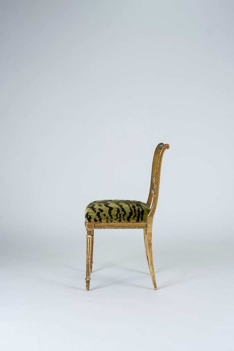 French 19th Century Giltwood Louis XVI Style Green Tigre Velvet Music Chairs For Sale