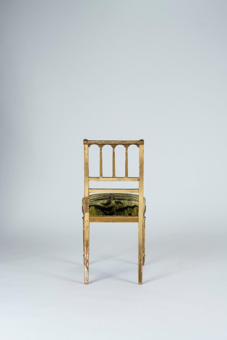 19th Century Giltwood Louis XVI Style Green Tigre Velvet Music Chairs In Good Condition For Sale In Houston, TX