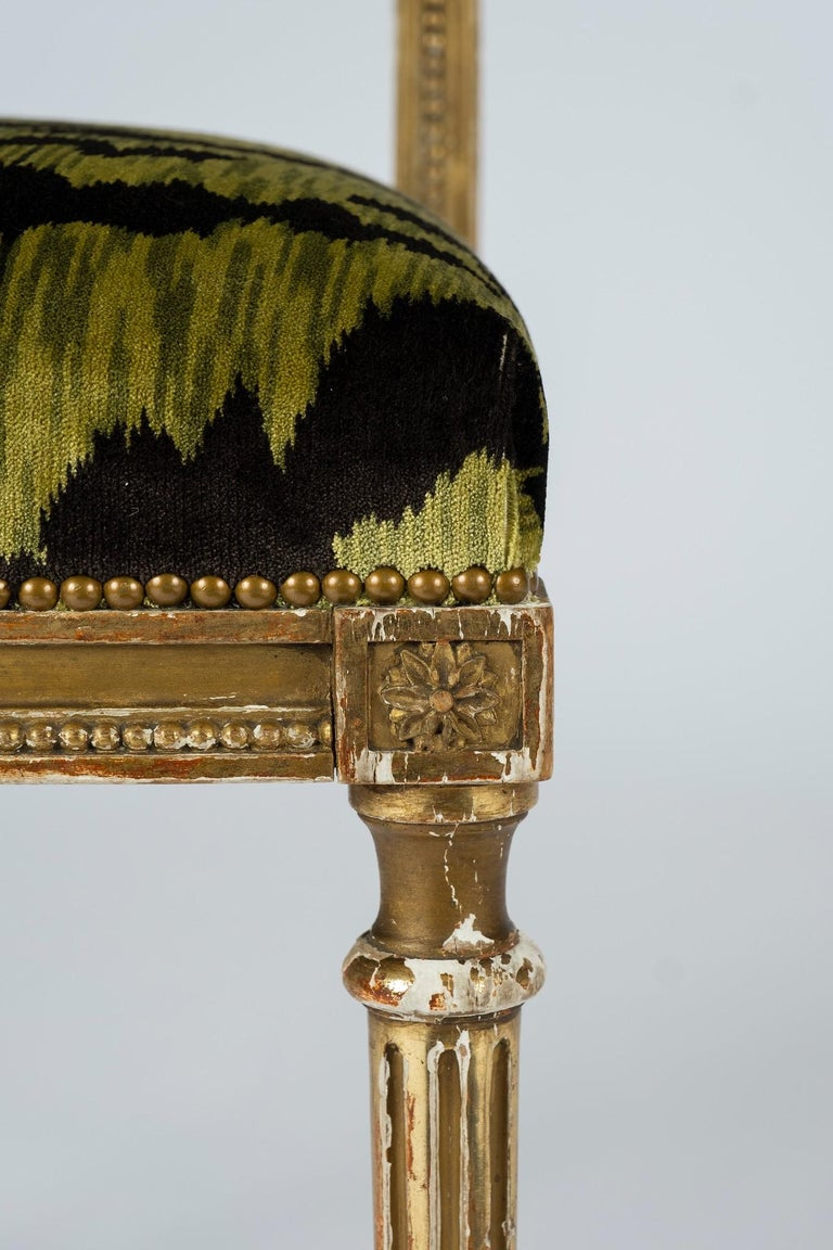 19th Century Giltwood Louis XVI Style Green Tigre Velvet Music Chairs For Sale 1