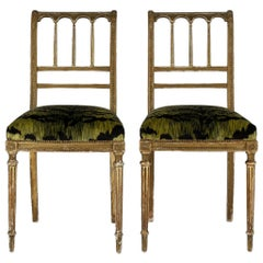 19th Century Giltwood Louis XVI Style Green Tigre Velvet Music Chairs