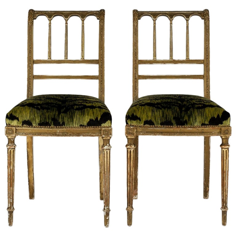 19th Century Giltwood Louis XVI Style Green Tigre Velvet Music Chairs For Sale