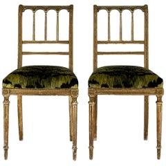 19th Century Giltwood Louis XVI Style Green Tigre Velvet Music Chairs