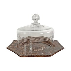 19th Century Glass Cheese Dome and Spongeware Plate
