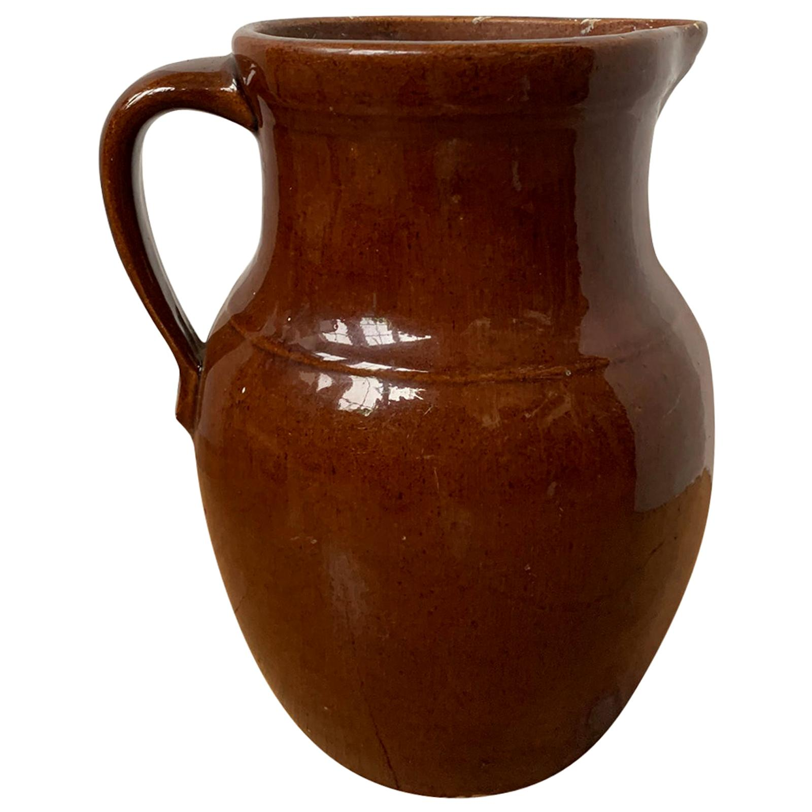 19th Century Glazed Brown Pottery Jug / Pitcher with Handle, Unmarked