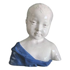 19th Century Glazed Ceramic Bust of a Boy by Cantagalli, Florence, Italy
