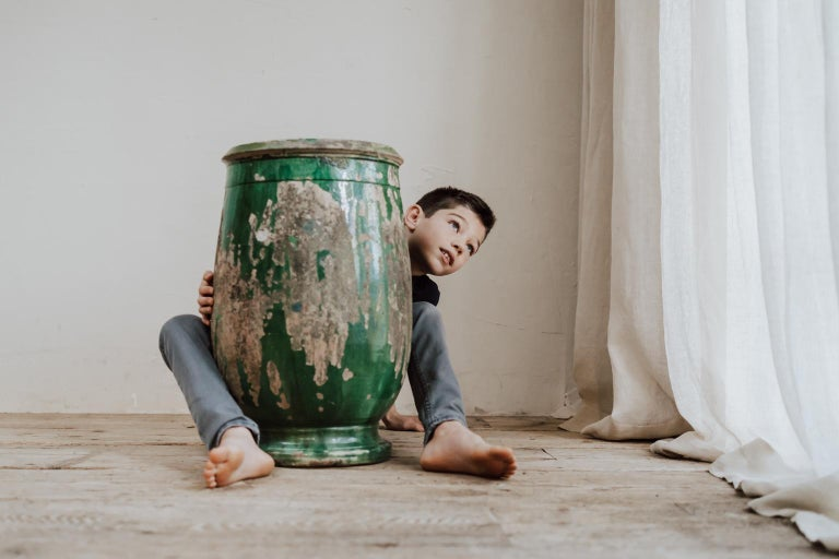 19th Century Glazed Terracotta Castelnaudary Vase/Jardinière/Planter In Distressed Condition For Sale In Brecht, BE