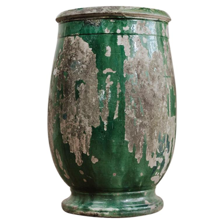 19th Century Glazed Terracotta Castelnaudary Vase/Jardinière/Planter For Sale