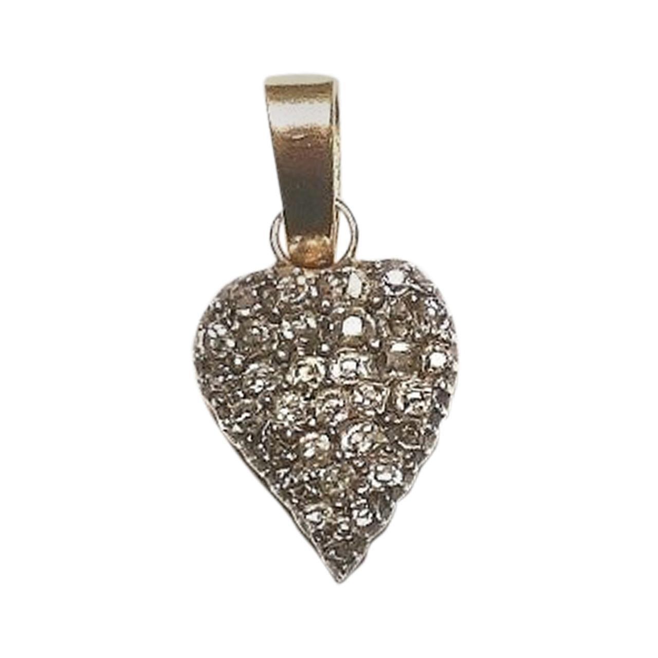 19th Century Gold and Diamonds Heart Pendant