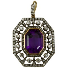 19th Century Gold and Silver Diamonds and Amethyst Pendant