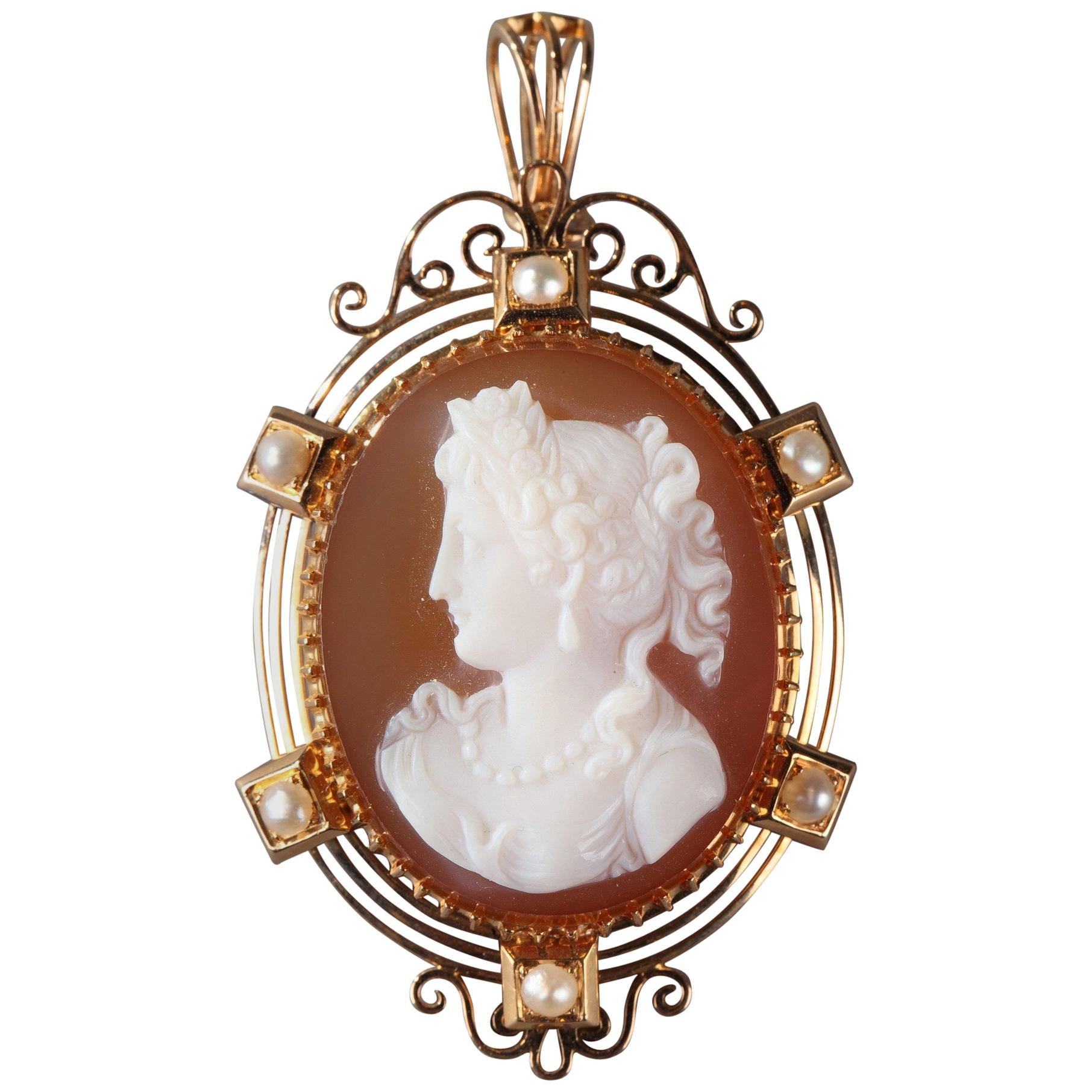 19th Century Gold Brooch, Pendant with Pink Agate Cameo