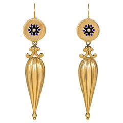 19th Century Gold Earrings with Amphorae Pendants and Pearl and Enamel Accents
