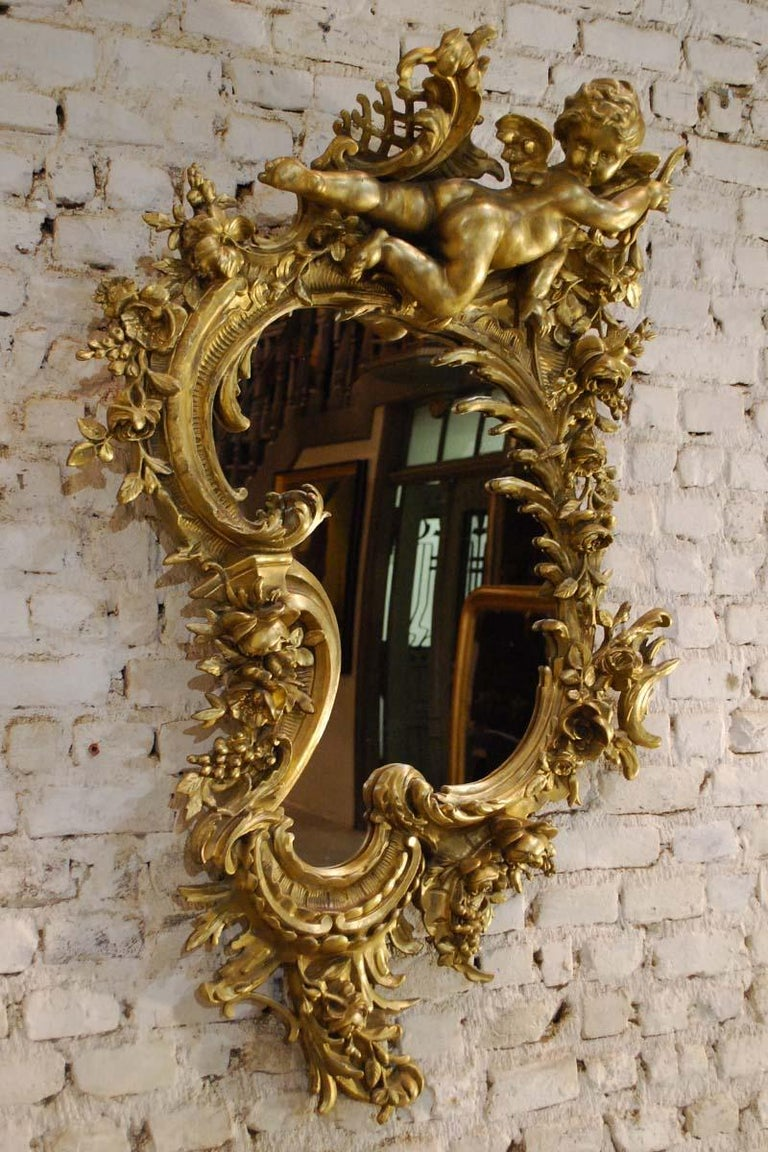 Antique 19th Century Italian Gold Rococo Wall Mirror With