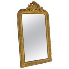 19th Century Gold Gilt Gesso Crested Mirror