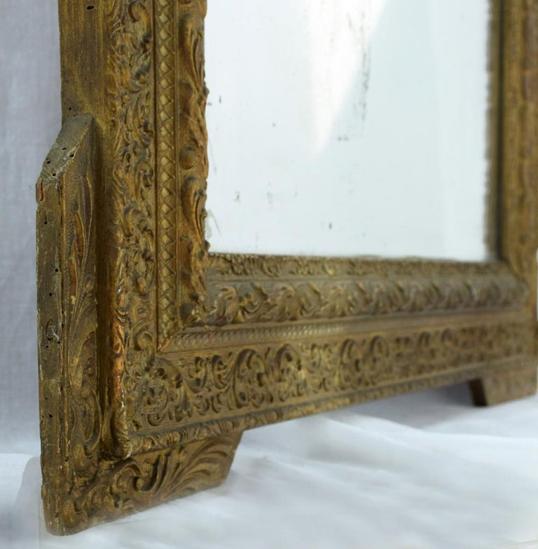 French 19th Century Gold Gilt Gesso Crested Square Mirror For Sale