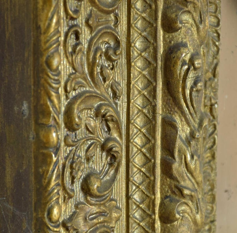Late 19th Century 19th Century Gold Gilt Gesso Crested Square Mirror For Sale