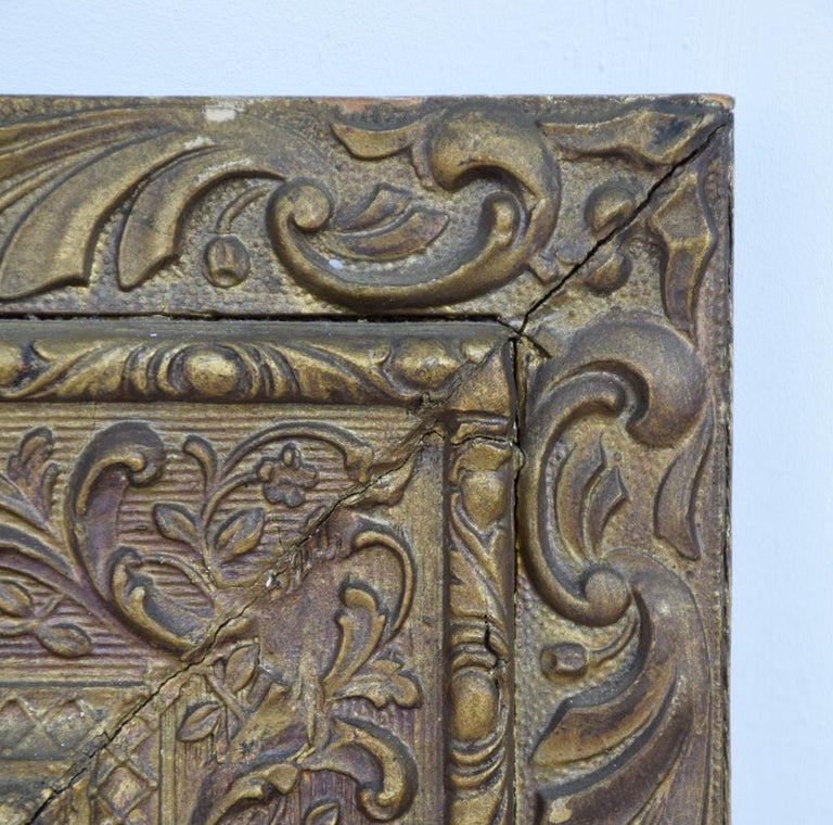 19th Century Gold Gilt Gesso Crested Square Mirror For Sale 1