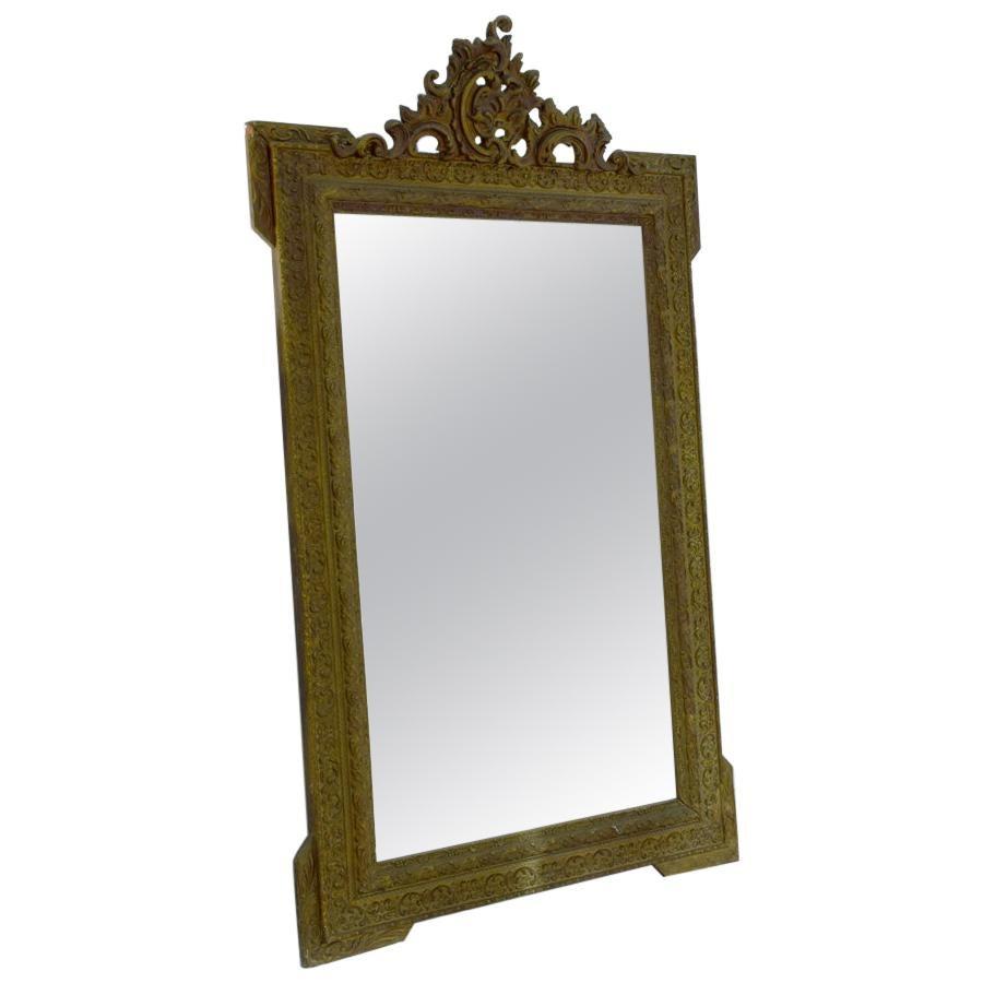 19th Century Gold Gilt Gesso Crested Square Mirror