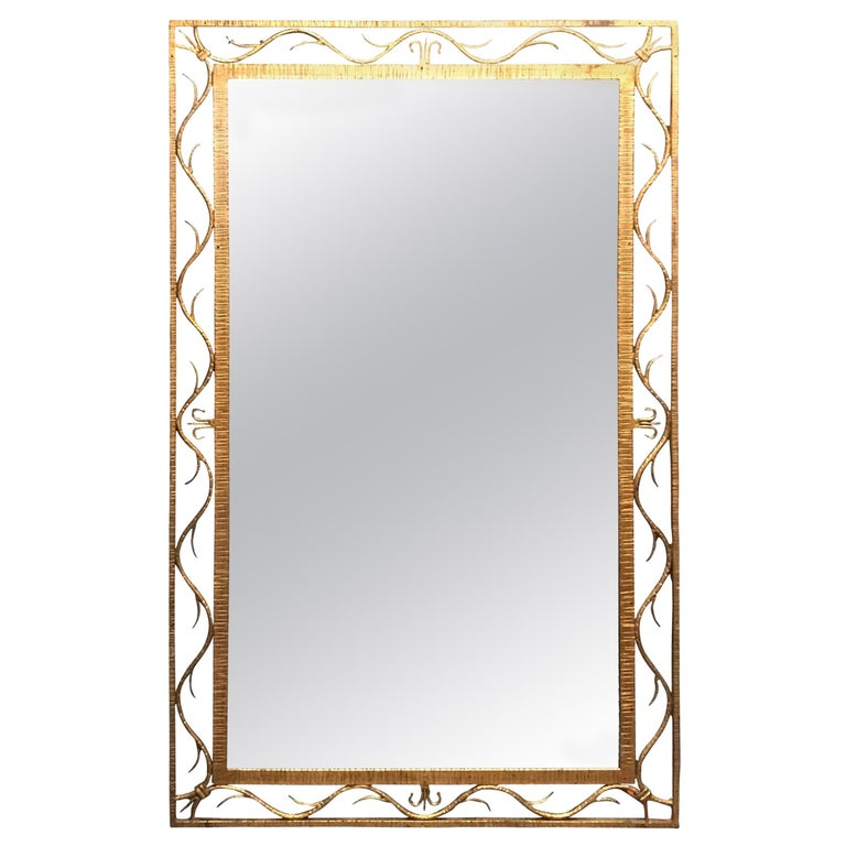 19th Century Gold Gilt Scroll Design Frame Mirror, France For Sale