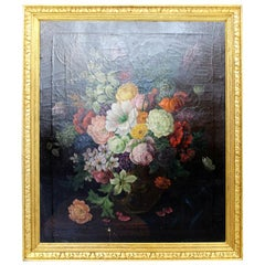 19th Century Gold Giltwood Framed Floral Still Life Oil on Canvas Painting