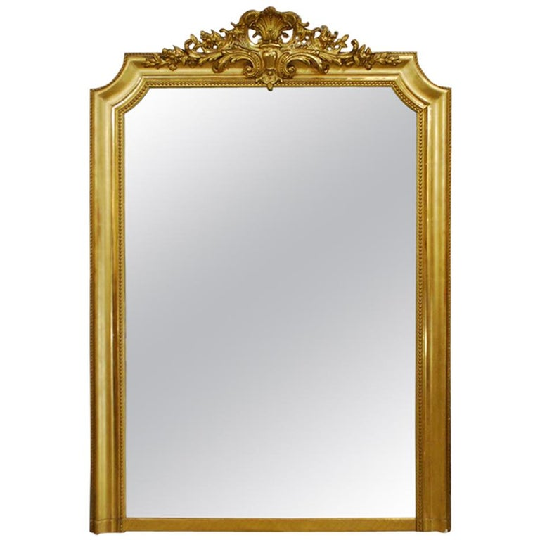 6050e1d54 19th Century Gold Leaf Gilt Antique French Louis Philippe Mirror For Sale