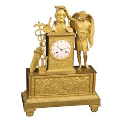 19th Century Gold Metal Bronze and Brass French Charles X Table Clock, 1830