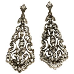 19th Century Gold, Silver and Diamonds Stud Drop Earrings