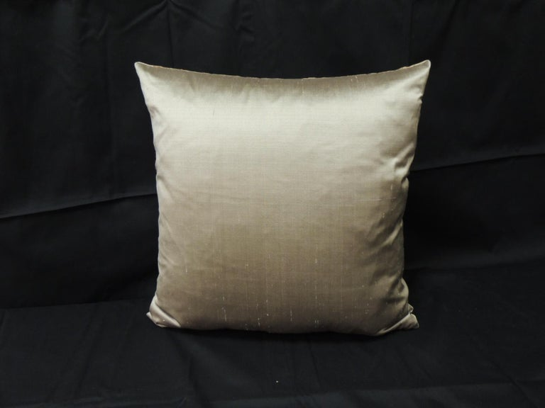 Hand-Crafted 19th Century Gold Turkish Embroidery Throw Pillow For Sale