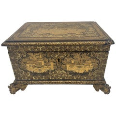 19th Century Golden Black Lacquer Chinese Jewelry Box with Dragon Feet