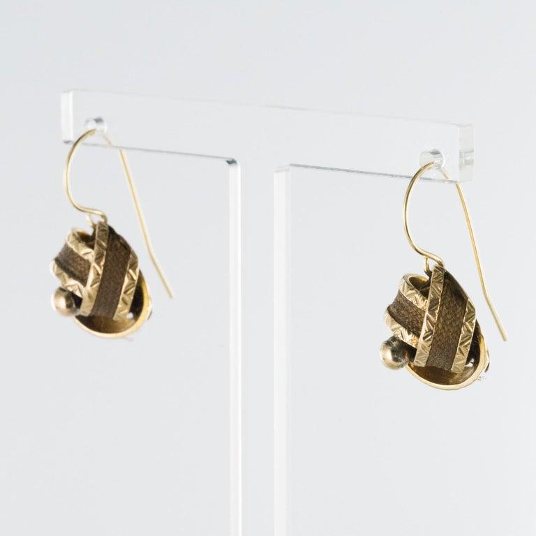 Women's 19th Century Golden Bows Hair Drop Earrings For Sale
