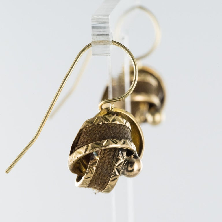 19th Century Golden Bows Hair Drop Earrings For Sale 1