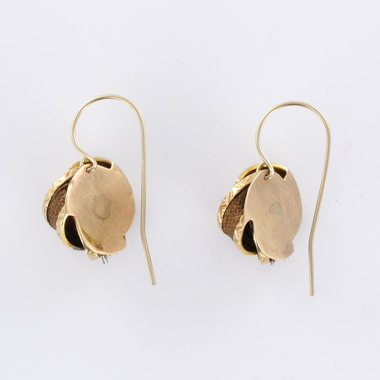 19th Century Golden Bows Hair Drop Earrings For Sale 3