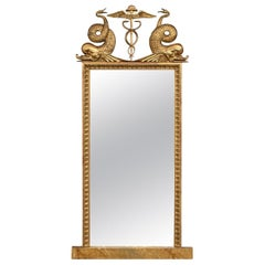 19th Century Gothenburg Swedish Mahogany and Giltwood Empire Style Pier Mirror