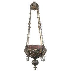 19th Century Gothic Bronze Incense Burner, Chandelier