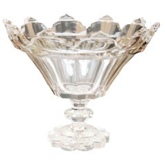 19th Century  Gothic Cut Crystal Irish Footed Bowl