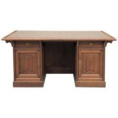 19th Century Gothic Oak Executive Desk