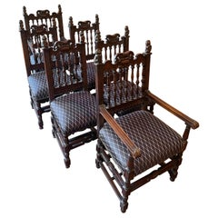 19th Century Gothic Revival Dining Chairs/ Set of 6