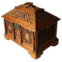 19th Century Gothic Revival Oak Sarcophagus Shaped Casket