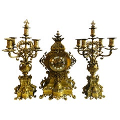 19th Century Gothic Style J.E. Caldwell Gilt Bronze Clock Garniture Set
